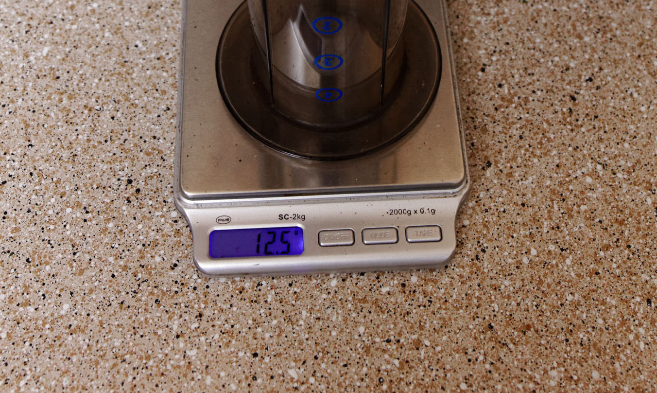A scale showing 12.5 grams
